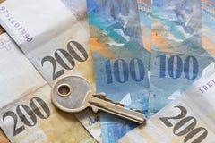 Francos suizos/el concepto el préstamo hipotecario Fotografía de archivo