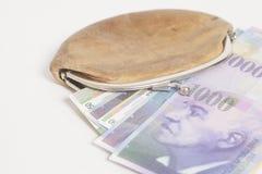 Francos suizos en cartera fotos de archivo libres de regalías