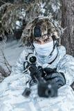 Francotirador ártico de las montañas del invierno Imagen de archivo libre de regalías