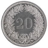 20 francs coin. Closeup isolated on white background Stock Photos