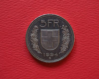 5 francs coin, Switzerland Stock Image