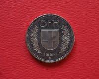 5 francs de pièce de monnaie, Suisse Image stock