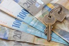 Francs suisses/concept le prêt immobilier Photo libre de droits