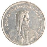 5 francs suisses de pièce de monnaie Photographie stock libre de droits