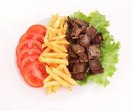 francuscy dłoniaki piec na grillu mięsa talerz Zdjęcia Stock
