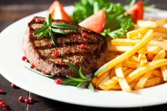 francuscy dłoniaki piec na grillu nieociosany stek obrazy stock