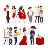 Francuscy ludzie, mimowie, artyści, dziejowe postacie royalty ilustracja