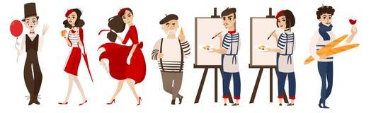 Francuscy ludzie, mimowie, artyści - symbole Francja royalty ilustracja