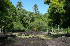 Francuscy Polynesia Tahiti kamieni starzy marae Zdjęcia Royalty Free