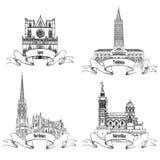 Francuscy punkty zwrotni Miasto przylepia etykietkę bordów, Tuluza, Lion, Marseille sławni budynki Francja Zdjęcie Stock