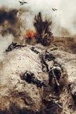 Francuscy spadochroniarzi w akci obrazy stock