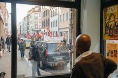 Francuska demonstracja przeciw rzędu stanowi zagrożenia Fotografia Royalty Free