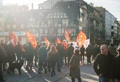 Francuska demonstracja przeciw rzędu stanowi zagrożenia Zdjęcia Royalty Free