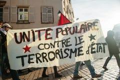 Francuska demonstracja przeciw rzędu stanowi zagrożenia Zdjęcie Royalty Free