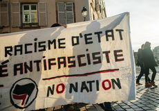 Francuska demonstracja przeciw rzędu stanowi zagrożenia Fotografia Stock