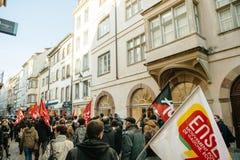 Francuska demonstracja przeciw rzędu stanowi zagrożenia Obraz Stock