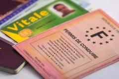 Francuska kierowca koncesja, tożsamość karty i papier i obrazy royalty free