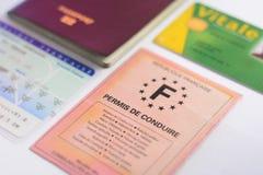Francuska kierowca koncesja, tożsamość karty i papier i zdjęcie stock