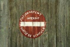 francuska ręka żadny malujący parking znak Zdjęcie Stock