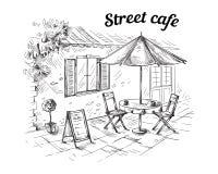 Francuska Uliczna kawiarnia, ręka rysująca ilustracji