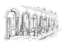 Francuska Uliczna kawiarnia, ręka rysujący wektor Fotografia Royalty Free