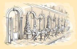 Francuska Uliczna kawiarnia, ręka rysujący wektor Zdjęcia Stock