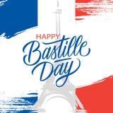 Francuski święto państwowe, 14th Lipa muśnięcia uderzenia kartka z pozdrowieniami z wieżą eifla i ręka pisze list Szczęśliwego Ba Zdjęcie Stock