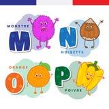 Francuski abecadło Potwór, hazelnuts, pomarańcze, pieprz Wektorów charaktery i listy Obraz Royalty Free