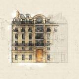 Francuski budynek ilustracja wektor