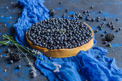 Francuski domowej roboty tarta z czarnymi jagodami na błękitnym tle Odgórny widok Zdjęcia Royalty Free