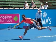 Francuski gracz w tenisa Gilles Simon narządzanie dla australianu open Obrazy Stock