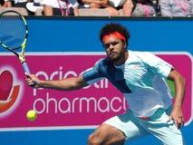 Francuski gracz w tenisa Jo-Wilfried Tsonga narządzanie dla australianu open przy Kooyong klasykiem w Melbourne Zdjęcia Stock