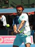Francuski gracz w tenisa Jo-Wilfried Tsonga narządzanie dla australianu open w Melbourne Obraz Stock