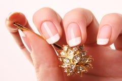 francuski manicure szpilka do włosów Fotografia Stock