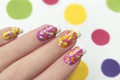 Francuski manicure z punktami Zdjęcia Stock