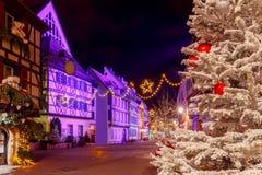 Francuski miasto Colmar na wigilii obraz royalty free