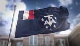 Francuski Południowy flaga 3D rendering na niebieskim niebie Buduje Backgroun ilustracja wektor