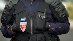 Francuski polici narodowa monitorowanie rozkaz, eliminuje przestępcy na dróg ulicach obrazy royalty free