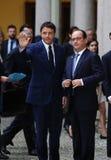 Francuski prezydent Francois Hollande i Pierwszorzędny Włochy minister, Zdjęcia Royalty Free