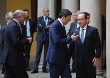 Francuski prezydent Francois Hollande i Pierwszorzędny Włochy minister, Zdjęcie Stock