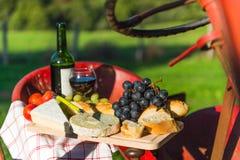 Francuski serowy wino i chleb Zdjęcie Stock