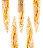 Francuski Skorupiasty Baguette całej banatki chleb na białym backgrou Fotografia Stock