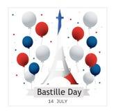 Francuski ?wi?to pa?stwowe 14 Lipiec Szczęśliwy Bastille dzień! Płaski sztandar w kolorach flaga państowowa Francja dla karty i p obraz royalty free