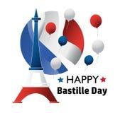 Francuski ?wi?to pa?stwowe 14 Lipiec Szczęśliwy Bastille dzień! Płaski sztandar w kolorach flaga państowowa Francja dla karty i p fotografia royalty free