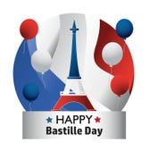 Francuski ?wi?to pa?stwowe 14 Lipiec Szczęśliwy Bastille dzień! Płaski sztandar w kolorach flaga państowowa Francja dla karty i p zdjęcia stock