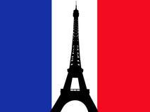 francuski wieżę eiffel flagę Obraz Royalty Free
