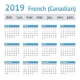 2019 Francuskich amerykanina kalendarza kanadyjczyków zdjęcie royalty free