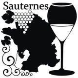 francuskich szklanych sauternes biały wino Zdjęcie Stock