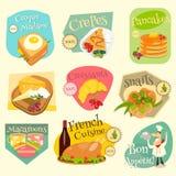 Francuskie jedzenie etykietki Ustawiać Obrazy Royalty Free