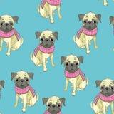 Francuskiego buldoga wzoru bezszwowy pies ilustracja wektor